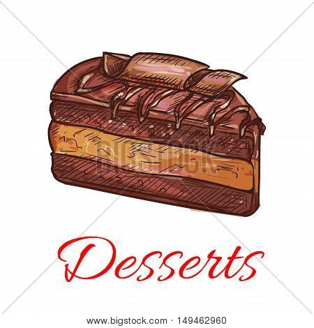 Dessert sketch icon. Patisserie shop emblem. Vector sweet chocolate cupcake. Template for cafe menu card, cafeteria signboard, bakery label