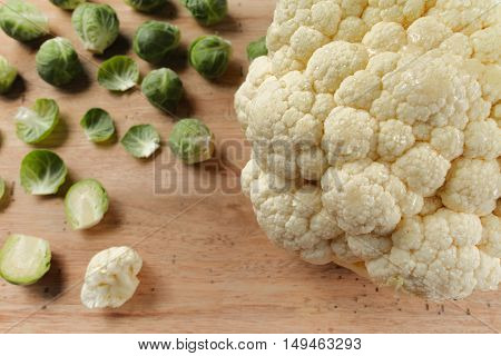 Cauliflower and brussels sprouts - fresh healthy vegetables for cooking