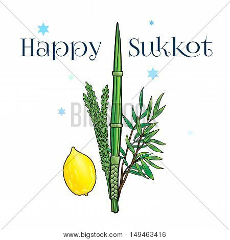 Happy Sukkot background. Hebrew translate: Happy Sukkot Holiday. Jewish traditional four species for Jewish Sukkot festival. Vector illustration.
