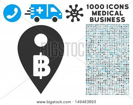 Thai Baht Map Marker icon with 1000 medical commercial gray and blue vector design elements. Design style is flat bicolor symbols, white background.