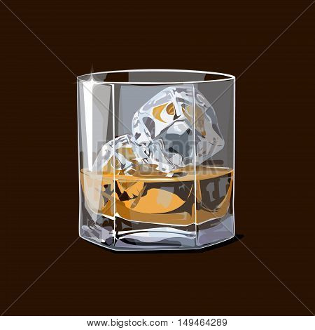 Alcohol. Whiskey shot with pieces of ice. Vector illustration