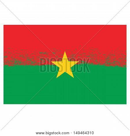National Burkina Faso Grunge Flag Isolated on White Background
