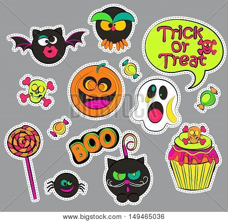 Halloween patch badges with ghost and pumpkin, candy and cat, owl and cupcake, skull and bat, speech bubbles. Set of fashion stickers, icons, pins, patches in comic cartoon style. Vector illustration.