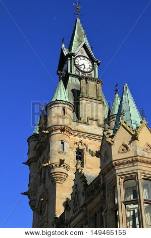 Clock Tower On Town Hall In Dunfermline, Scotland