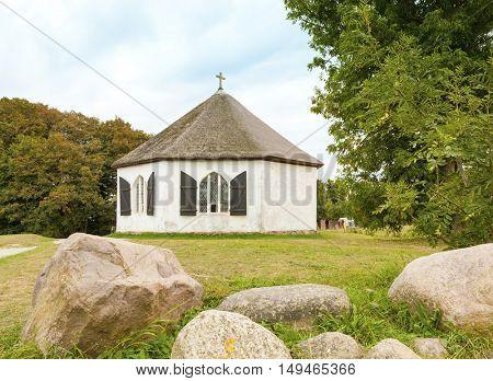 Octagonal chapel at Vitt village on Ruegen island in the baltic sea, Germany