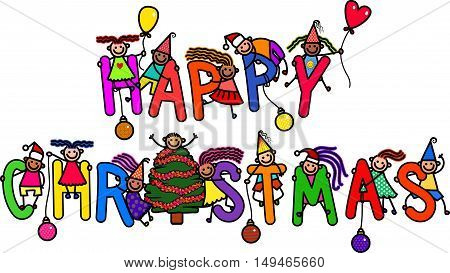 A group of happy stick children climbing over letters of the alphabet that spell out the words HAPPY CHRISTMAS.
