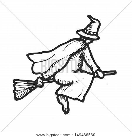Hand drawn doodle Halloween witch. Black pen objects drawing. Design illustration for poster, flyer over white background.