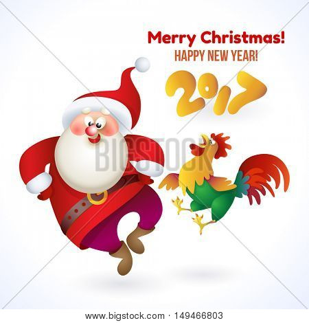 Happy New Year 2017 banner with Santa Claus and rooster. Vector Christmas illustration with Santa and rooster isolated on white background