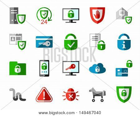 Information protection, color, flat icons. Information technology, data security system. Vector, color pictures on a white background.