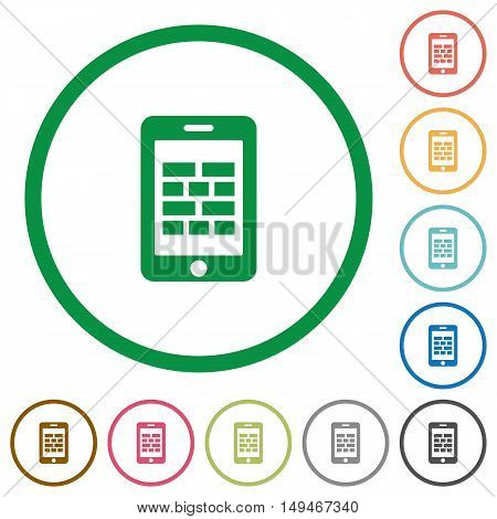 Set of smartphone firewall color round outlined flat icons on white background