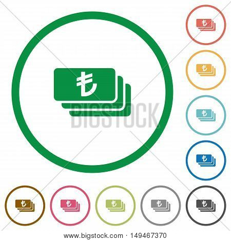 Set of turkish Lira banknotes color round outlined flat icons on white background