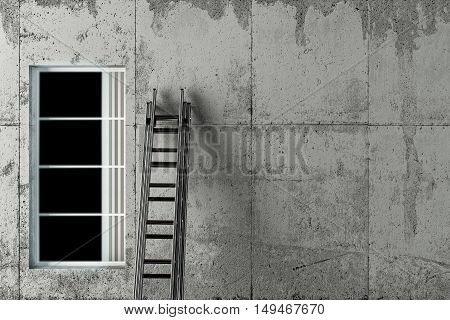 3d illustration of a ladder on concrete wall