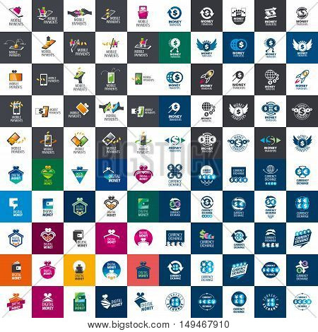 large set of templates designs logo for payment. Vector illustration