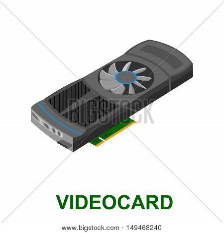 video card icon cartoon. Single PC icon from the big technology collection.