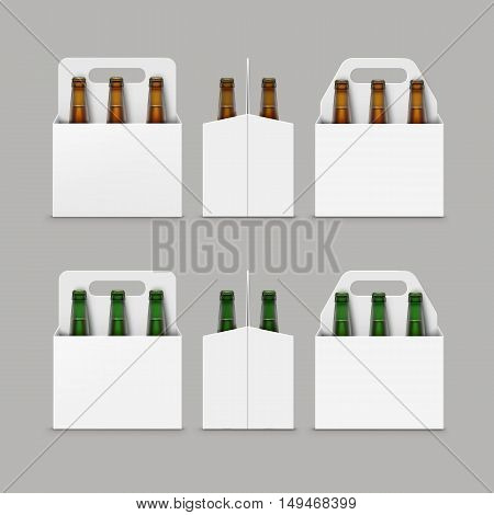 Vector Closed Blank Glass Transparent Brown Green Bottles of Light Dark Beer with Carton Packaging for Branding Front Side View Close up Isolated on Background