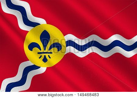 Flag of St. Louis is a city and port in Missouri state of United States. 3D illustration