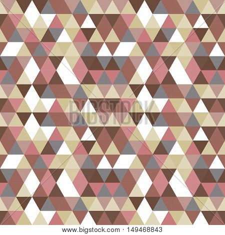 Seamless vector pattern with triangles in pink gray brown beige and similar tints and hues.