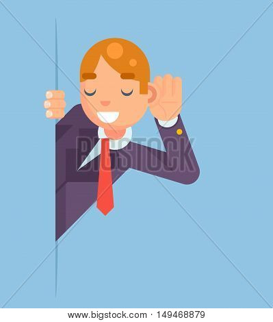 Eavesdropping Listen Overhear Spy Out Corner Cartoon Businessman Character Flat Vector Illustration