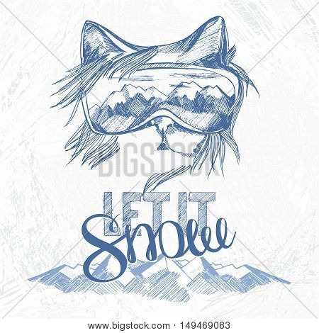 graphic poster with cat snowboarder and hand drawn phrase lettering let it snow. vector illustration