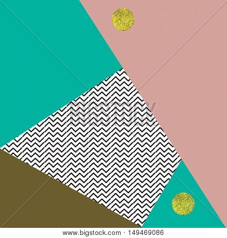 Abstract vector background with geometrical shapes in pastel retro colors and golden circles.