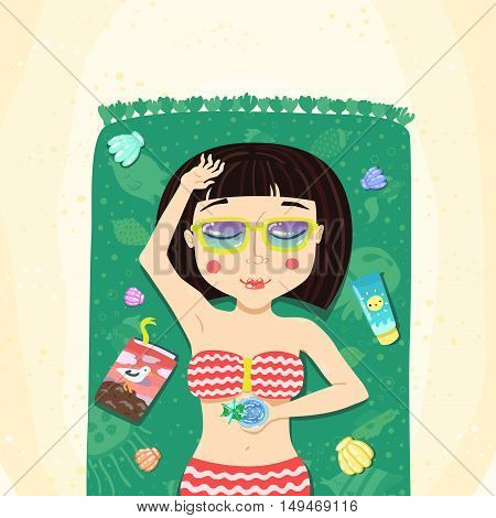 Brunette bob hairstyle summer girl sunbathes on the beach cartoon vector illustration