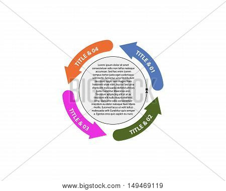 Vector circle arrows for infographic. Template for diagram graph presentation and chart. Business concept with 4 options
