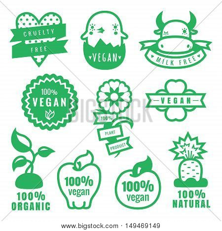Green vegan cruelty free natural and organic products stickers and icons in vector