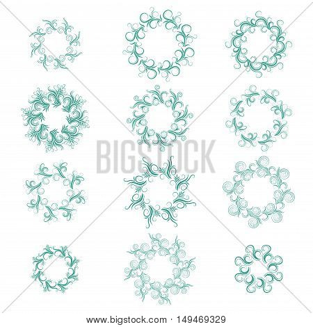 Set of round green curly frames of different shapes isolated on white. Flourishes calligraphic monogram emblem template. Luxury elegant frame ornament. Vector illustration.