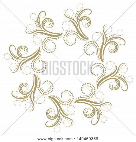 Abstract curly gold round frame isolated on white background. Vector illustration.