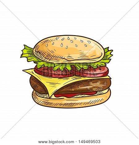 Cheeseburger fast food sketch icon. Vector hamburger with sesame bun, fresh lettuce, tomatoes slices, meat cutlet, cheese. Burger lement for restaurant signboard, eatery menu, cafe label