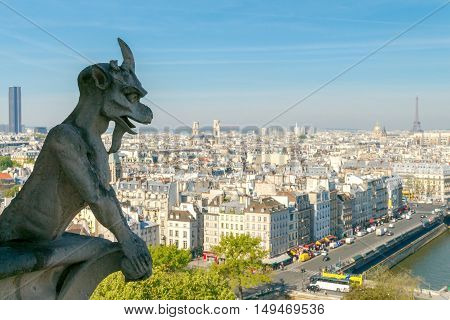 Paris. France - May 5 2014: A view of the city from the observation deck of the Cathedral of Notre Dame. Paris is one of the most visited cities by tourists in the world.