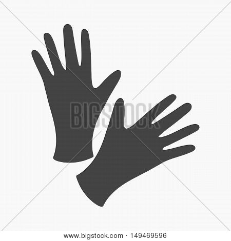 Black protective rubber gloves icon cartoon. Single tattoo icon from the big studio collection.