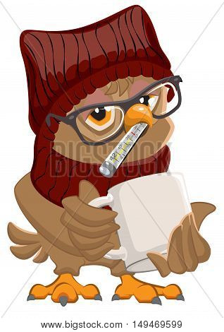 Patient owl with thermometer and mug. Isolated on white vector cartoon illustration