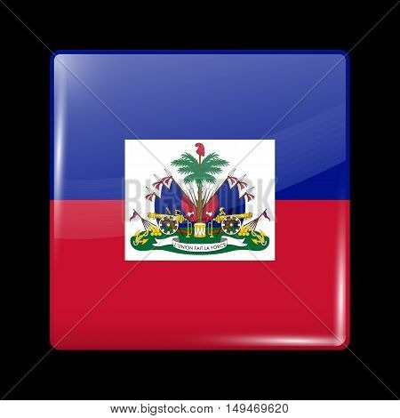 Flag Of Haiti. Glossy Icon Square Shape