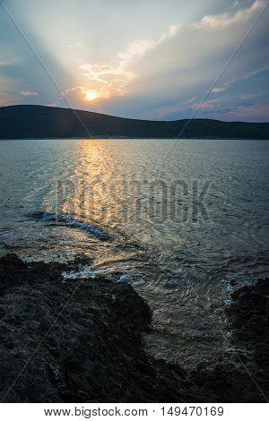 Beautiful Zastani Beach At Sunset, Evia, Greece