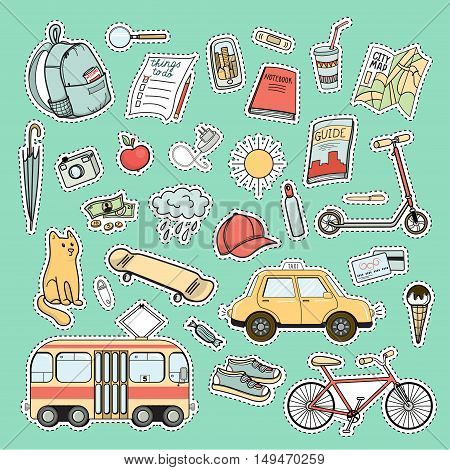 Set of colorful city life patches, vector sticker set. Tram and bicycle, snickers, skate, backpack and cap, red cat, camera, phone, taxi, map, sun, cloud, other tourist necessities as set of patches