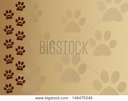 Paw track animal background frame with copy space for text.