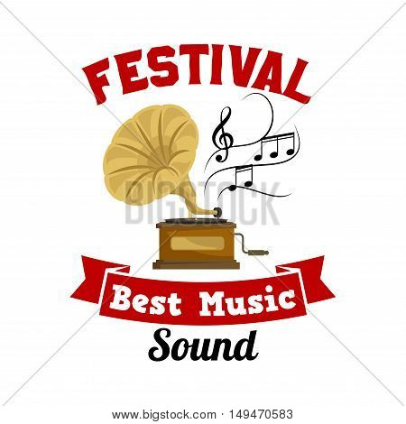 Gramophone. Best music sound festival emblem with vector icon of old vintage retro phonograph, musical notes and red ribbon