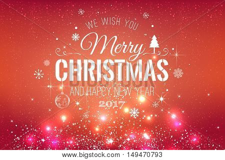 Christmas And New Year Typographical On Red Xmas Background With