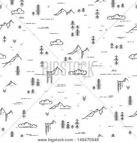 Vector linear seamless pattern with wild landscape elements. Waterfall, mountains, pine trees and clouds. Black and white outdoor seamless background