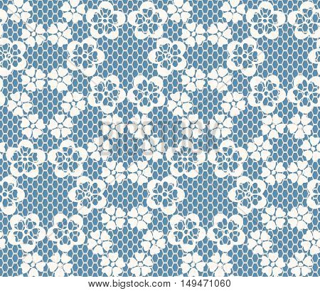 Seamless White Lace Pattern On Blue Background