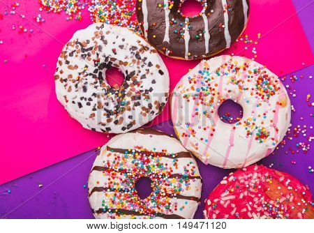Donuts on a color background.