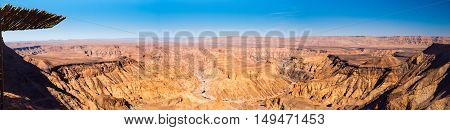 Fish River Canyon, aka Visrivier Canyon or Visrivier Afgronde, in southern Namibia - the largest canyon in Africa. Wide panorama view.