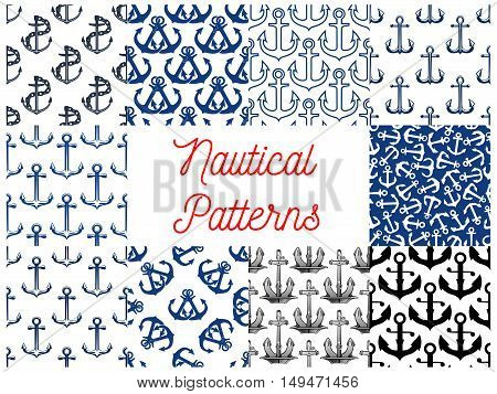 Nautical anchor patterns. Vector pattern of marine symbols anchor on chain
