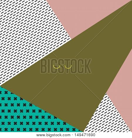 Abstract geometric vector background with triangular shapes black crosses and stripes golden semicircles in retro colors.