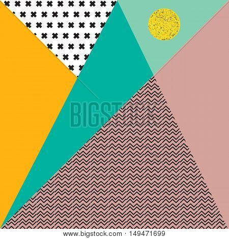 Abstract vector background with triangles in pastel retro colors black crosses and zigzags and a golden circle.