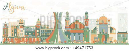 Abstract Algiers Skyline with Color Buildings. Vector Illustration. Business Travel and Tourism Concept. Image for Presentation Banner Placard and Web Site.