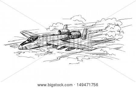 Jet Aircraft. Hand drawn illustration.