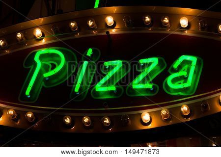 Pizza Neon Sign Green Glow Light Bulb Warm Contrast Food
