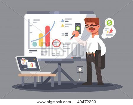 Business analyst shows presentation with charts and graphs. Vector illustration